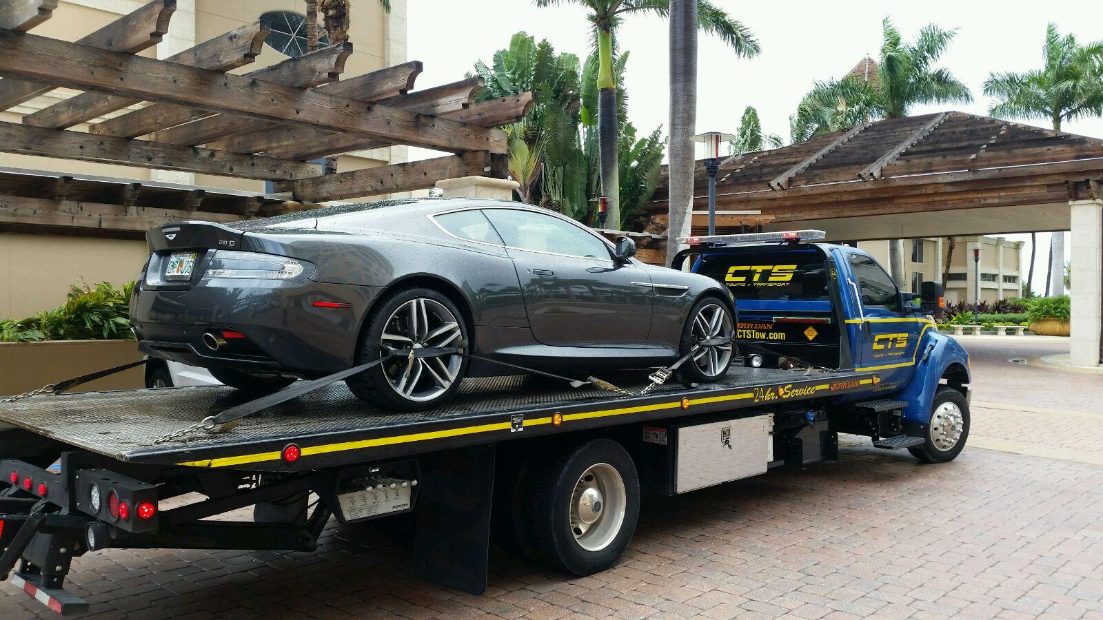 Aston Martin on Rollback CTS Tow Truck