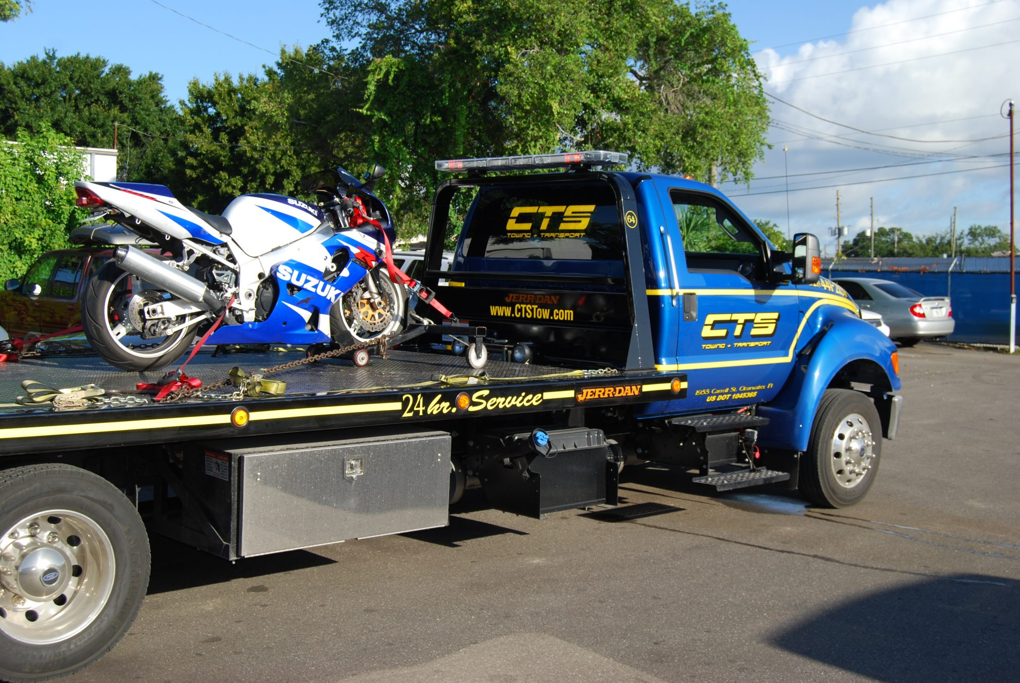 Motorcycle on the back of a CTS Tow Truck