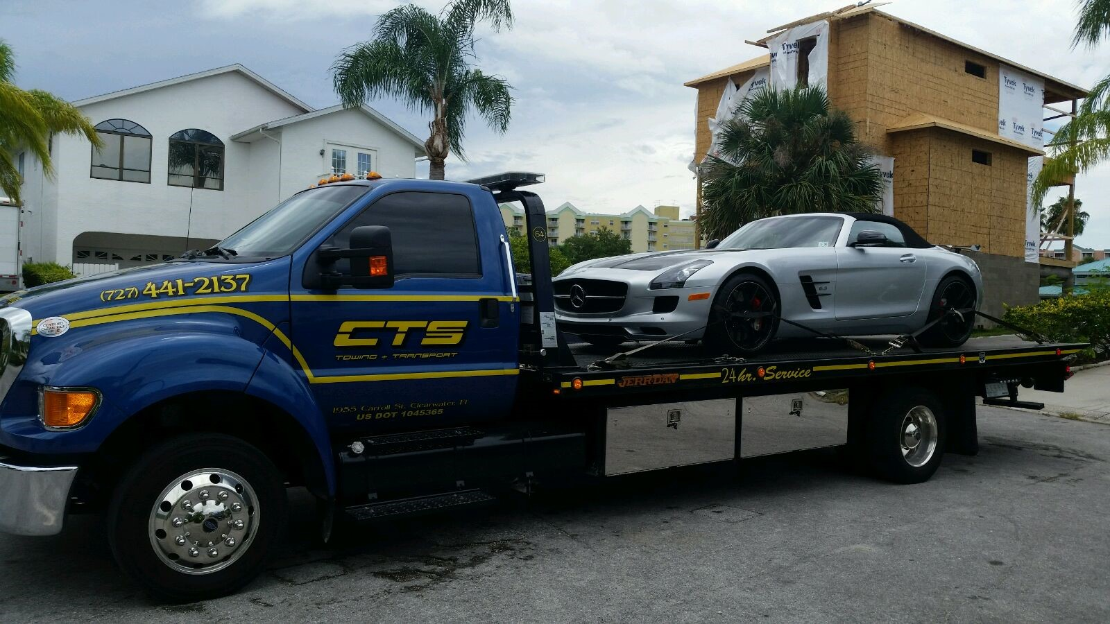Mercedes carefully being towed by CTS Tow Truck